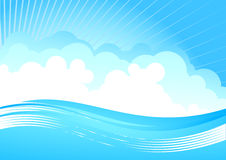 Cloudy sky and wave Stock Images