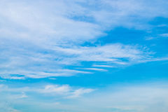 Cloudy sky. White cloudy and blue sky background Royalty Free Stock Photography