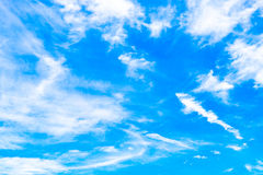 Cloudy sky. White cloudy and blue sky background stock images
