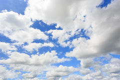 Cloudy sky. White clouds in blue sky Stock Photos