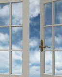 Cloudy Sky Window View. 3D Digitally rendered illustration of the view of a cloudy blue sky through a white painted window stock illustration