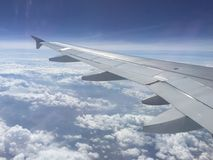Cloudy Sky and Wing on Plane`s Window. Plane wing and cloudy blue sky at plane window Royalty Free Stock Photos