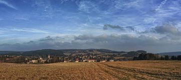 Cloudy skyes oves Czech Highlands stock photography