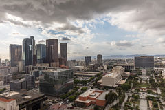 Cloudy skyline over downtown Los Angeles Royalty Free Stock Images
