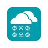 Cloudy, snow, snowfall and snowflakes, flat icon weather forecast isolated on white background. Vector illustration. Cloudy, snow, snowfall and snowflakes, flat Stock Photography