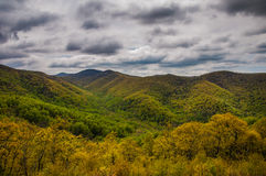 Cloudy spring view from Skyline Drive in Shenandoah National Park Stock Images