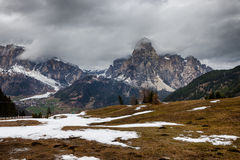 Cloudy spring weather in Dolomites mountains Stock Photo