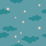 Cloudy starry night sky seamless pattern. For textile fabric paper package wallpaper Vector Illustration