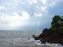 Cloudy Storm over an Ocean at Dona Paula, Panaji, Goa, India. This is a photograph of Sea captured at Dona Paula, Panaji, Goa, India Stock Images