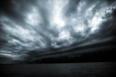 Cloudy storm in the sea before the rain. tornado storms cloud above the sea. Monsoon season. Hurricane Florence.  stock photo