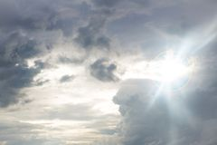 Cloudy storm in the sea before rainy. Tornado storms cloud above the sea. Monsoon season. Huge storm clouds with rain over sea , Strong winds, heavy rain storm royalty free stock images