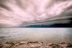 Cloudy storm in the sea before rainy.tornado storms cloud above the sea. Monsoon season. Storm in the sea.Wonder of natural disaster.Cloud before rain,Sky Royalty Free Stock Photo