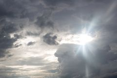 Cloudy storm in the sea before rainy. Tornado storms cloud above the sea. Monsoon season. Huge storm clouds with rain over sea , Strong winds, heavy rain storm stock images