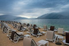 Cloudy summer day on the beach.  Montenegro, Adriatic Sea, view of Bay of Kotor. Near Tivat city stock photos