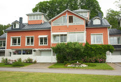 Cloudy summer day on the historic quarter of Naantali Stock Photography