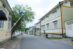 Cloudy summer day on the historic quarter of Naantali Royalty Free Stock Image