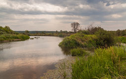 Cloudy summer evening on river Stock Images