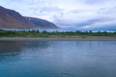 Cloudy summer morning on the Sob river Polar Ural, Russia. Cloudy summer morning on the Sob river Polar Ural. Russia royalty free stock images
