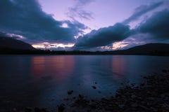 Cloudy summer twilight on the Sob river. Polar Ural. Russia. Cloudy summer twilight on the Sob river. Polar Ural, Russia royalty free stock images