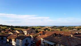Cloudy sunny italian sky. Cloudy and sunny sky with Amazing italian summer landscape royalty free stock photo