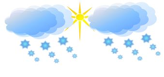 Cloudy, sunny and snowy weather Royalty Free Stock Photography