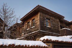 Cloudy, sunny winter day along the narrow streets of the town of Sozopol, Bulgaria Royalty Free Stock Image