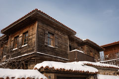 Cloudy, Sunny Winter Day Along The Narrow Streets Of The Town Of Sozopol, Bulgaria Royalty Free Stock Photos