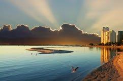 Cloudy Sunrise Over Bay. Spectacular sunrise over the lagoon at Labrador on the Gold Coast Australia Royalty Free Stock Photos