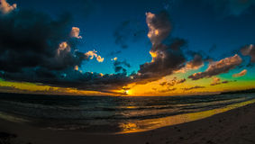 Cloudy Sunrise over Caribbean Sea Royalty Free Stock Photos