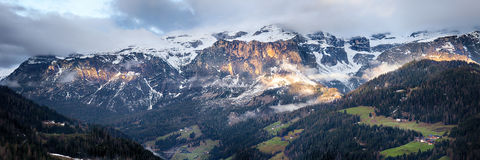 Cloudy sunrise over Dolomites mountains Royalty Free Stock Photography
