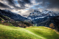 Cloudy sunrise over Dolomites mountains Royalty Free Stock Photos