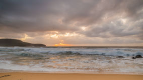 Cloudy Sunrise Seascape. At Killcare Beach, Central Coast, NSW, Australia Stock Photos