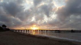 Cloudy sunrise. At the ucsb beach in santa barbara, california,usa Stock Image