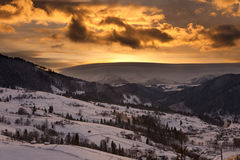 Cloudy sunset in Carpathian Mountains Royalty Free Stock Photo