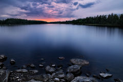 Cloudy sunset. A cloudy sunset i a summer night in sweden Stock Images