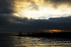 Cloudy sunset at Lake Balaton, Szigliget Royalty Free Stock Image