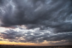 Cloudy sunset. Cloudy landscape in the twilight of day stock photography