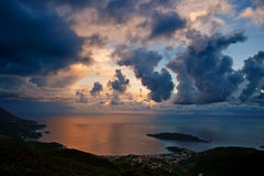 Cloudy sunset in Montenegro. Cloudy sunset above the sea in Montenegro Stock Image