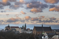 Cloudy sunset over historic town Krakow Royalty Free Stock Images