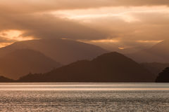 Cloudy Sunset over Marlborough Sounds, New Zealand Royalty Free Stock Photography