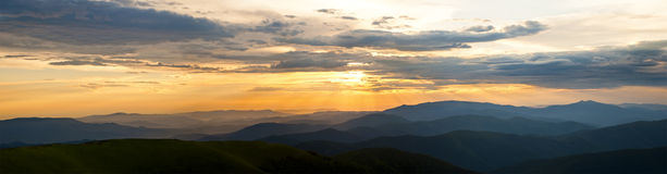 Cloudy sunset panorama Royalty Free Stock Photography