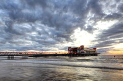 Cloudy Sunset Pier Royalty Free Stock Photos