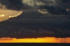Cloudy sunset sky and sea horizon Royalty Free Stock Photos