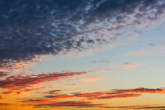 Cloudy sunset sky Royalty Free Stock Photos