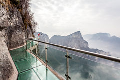 Cloudy Tian Men Mountains in Zhangjiajie,glass walk way Royalty Free Stock Photo
