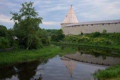 Cloudy twilight on the river Ladozhka. Staraya Ladoga. Russia Royalty Free Stock Photo