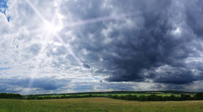 Cloudy view. Rural cloudy summer panoramic view Stock Photos