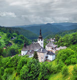 A cloudy view of Church of the Transfiguration, Spania Dolina stock image