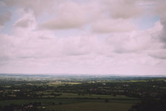 Cloudy view over the Chilterns in Buckinghamshire Vintage Retro Stock Image