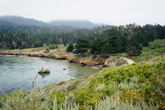Cloudy view of the Pacific Coast from Point Lobos State Natural Stock Photo
